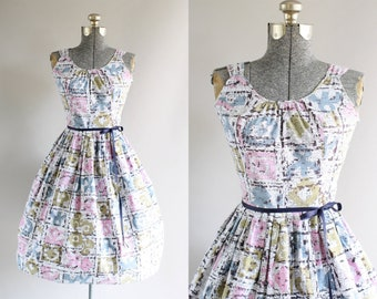 Vintage 1950s Dress / 50s Cotton Dress / Pink and Blue Abstract Print Dress w/ Ribbon Waist Tie XS