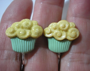"""Play Earring - Clip - Cupcake - Green/Gold - 3/4"""""""