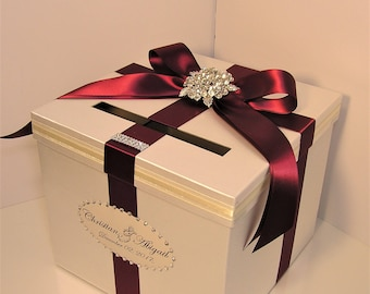 Wedding Card Box Ivory and Burgundy Gift Card Box Money Box Holder--Customize your color/made to order (10x10x9)