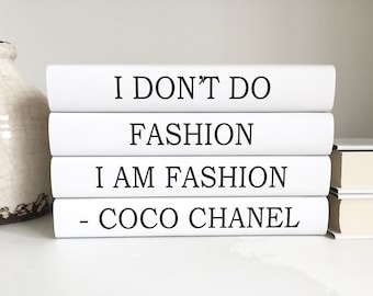 Fashion Coco Chanel Books, Chanel Quote Decorative Books, Chanel Decor, Chanel Quote Book Set, Black Books, Chanel gift, Housewarming Gift