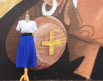 Vintage Blue And White Polka Dot Pleated Dress (Size Medium)
