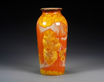 Ceramic Vase - Orange, Gold - Crystalline Glaze on High-Fired Porcelain - Hand Made Pottery - FREE SHIPPING - #E-1-5119