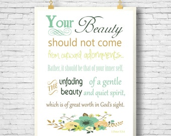 Bible Verse, Scripture Printable, Home Decor printable,  Scripture Art bible verse, 1 Peter 3:3-4, Printable 8x10 File, INSTANT DOWNLOAD