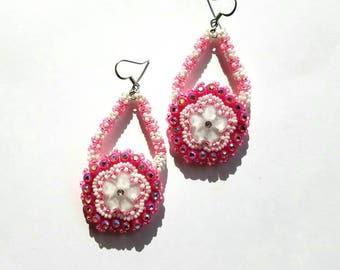 Native American Beaded Earrings Pink Flowers