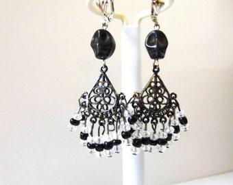Black Day of the Dead Earrings Sugar Skull Jewelry Chandelier Leverback Dangle