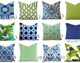 Outdoor Pillows or Indoor Custom Cover - Navy Blue Green Lime with Ivory multiple sizes 18 x 18, 16x16, 20x20
