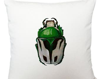 Cushions/ cushion cover/ scatter cushions/ throw cushions/ white cushion/ green beetle cushion cover