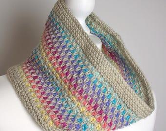 Cowl Knitting Pattern - Rainbow Slip Cowl - PDF Knitting pattern