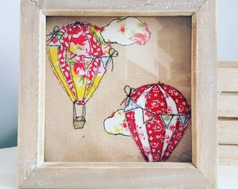 Handmade free motion embroidery picture - fabric art  - original art - hot air balloons - made in the UK