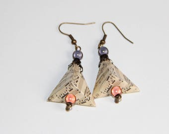 origami paper pyramid earrings music