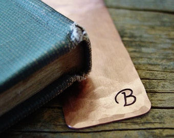 Personalized Bookmark, Initial Bookmark, Copper Gift, Gifts for Readers, Unique Bookmarks, Gifts for Her, Hand Stamped, Custom Bookmark