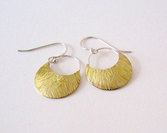Crescent moons with silver wire earrings Dangle silver and brass earrings Mixed metals