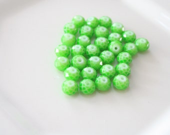 6mm Faceted Green Beads, 6mm Lime Green Rondelle Beads (30) beads