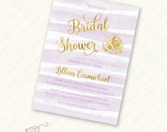Purple Bridal Shower Invitation with gold Printable watercolor stripe foil effect digital download custom invite wedding engagement diy jpeg