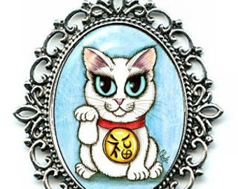 Lucky Cat Necklace Maneki Neko Purity Cat Cameo Pendant White Cat Necklace 40x30mm Gift for Cat Lovers Jewelry