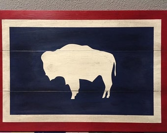Wyoming flag - Rustic sign - Buffalo - red, white and blue, Home decor