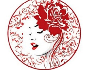 20mm cabochon woman (red)