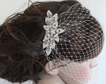 Birdcage veil with hair comb,Ivory birdcage veil,Wedding fascinator,Bridal viel,Wedding veil,Blusher veil,French netting,Bridal fascinator