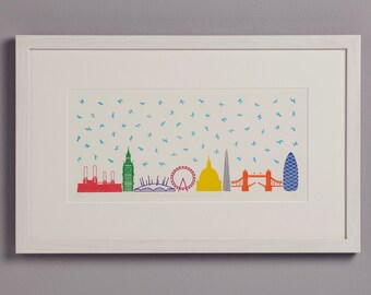 It's Raining Cats and Dogs in London! Letterpress print