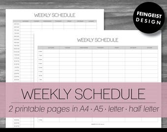 WEEKLY SCHEDULE. Printable Pages/Planner Inserts. 4 Sizes. Instant Download. Letter - Half Letter - A4 - A5