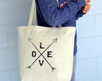 Tote Bag, Love Arrows Tote, Canvas Bag, Arrows, Bride Gift, Gym Bag