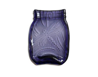 Mason Jar Spoon Rest in Royal Purple with Elegant Kiln-Carved Dragon Fly Swirl Design - Spoon Rest - Butter Dish - Soap Dish