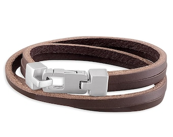 Brown Leather Double Wrap-Around Sterling Silver Bracelet