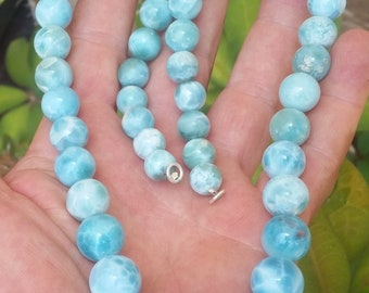 premium AAA LARIMAR round beaded stones 925 Sterling silver NECKLACE #07