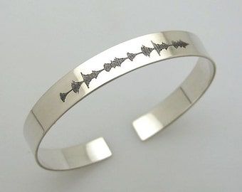 Sound Wave Bracelet - Custom Cuff - Anniversary gift - Soundwave Jewelry - Personalized Bracelet - Engraved Sterling Silver Bangle Cuff