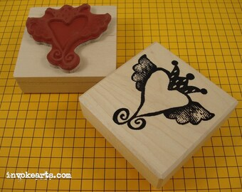Crowned Heart in Flight Stamp / Invoke Arts Collage Rubber Stamps
