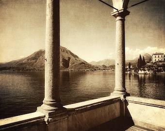 Sepia Prints,Italy Sepia Photography,Lake Como,Mountain Fine Art,Wall Art,Home Decor,Lake Como Print,Dining Room Sepia Wall Art,Sepia Photos