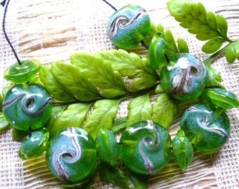 Lampwork perles de verre perles/fait à la main au chalumeau/sra au chalumeau/perles/vert/argenté Ivoire/matin brumeux