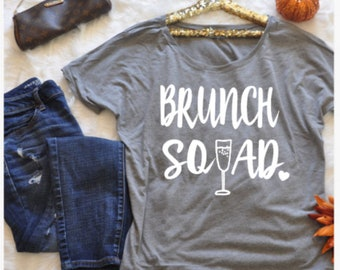 Brunch squad slouchy scoop neck tee