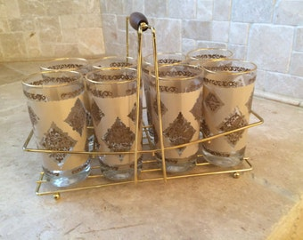 Vintage Tumblers in a Caddy-Set of 8 MINT!!