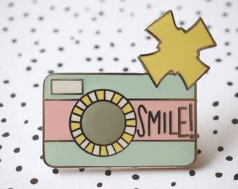 ON SALE! Enamel Pin - Smile! Camera Pin - Pastel Retro Camera - Flair