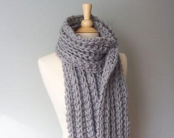 Knit Scarf Pattern- Chunky Scarf Pattern- Easy Knit Pattern- Womens Scarf Pattern- Winter Scarf Pattern-  Beginner Knitting Pattern- Scarf