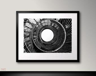 Black and white printable wall art,Metallic Spiral,Industrial art,Graphic art print,Black and white art,Industrial wall art,Industrial print