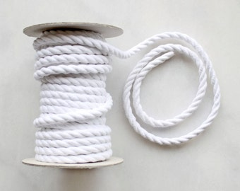 8mm White Cotton Rope Cord x 1m