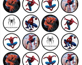 Spiderman Edible Wafer Rice Paper Cake Cupcake Toppers x 24 PRECUT