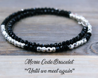 Until We Meet Again Jewelry Morse Code Bracelet Memorial Bracelet Loss of Husband Loss of Child Gift Loss of a Loved One Loss of Grandpa