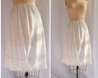 1960s Half Slip | Carol Brent | Vintage 60s Lingerie White Nylon Tricot Petticoat Lace Trim and Embroidery at Hem Size S