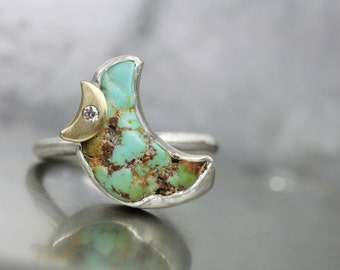 Rough Cerrillos Turquoise Crescent Moon Ring Silver 14K Yellow Gold Diamond Pale Green-Blue Boho Romantic December Birthstone - Türkismond