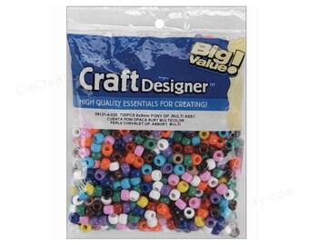 720 Pony Beads, 11 colors, Darice Big Value Craft Designer 6x9mm pony beads. Mul
