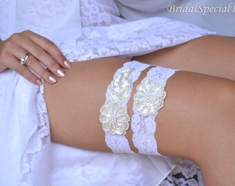 White And Ivory Wedding Garter Set With Handknitted Sequins and Pearls -  Handmade Bridal Accessories
