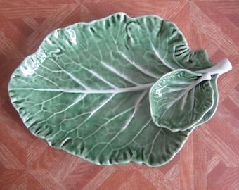 Vintage Bordallo Pinheiro Green Cabbage Leaf Dish
