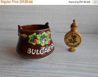 ON SALE Vintage Decorative  Ceramic  Bucket, Ceramic Mini  Bowl, Decorated Ceramic Pot, Bulgarian souvenir