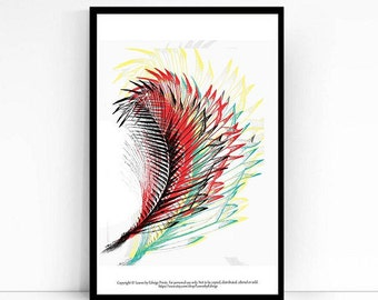 Abstract Palm Leaf print - Red Yellow Blue - 8x10 inch print -originally pen and ink - archival Palm leaf art print - Home decor wall art