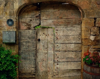 Old Door Photo, Rustic French Door, France, Travel Photography, Romantic, Shabby Chic, Cottage Art, Brown, Neutral, Home Decor, Christmas