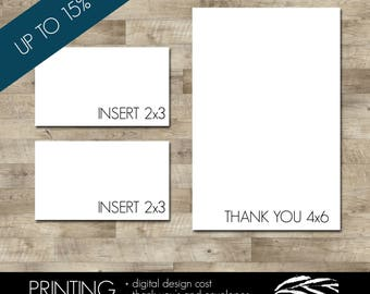 Professionally printed Thank You cards with envelopes and two sets of inserts (Discounted - UP to 15% OFF!!)