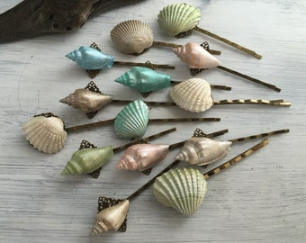 Beach Wedding Seashell Hair Pins - Bridal Hair Pins, Bridesmaid Hair Pins, SOLD INDIVIDUALLY